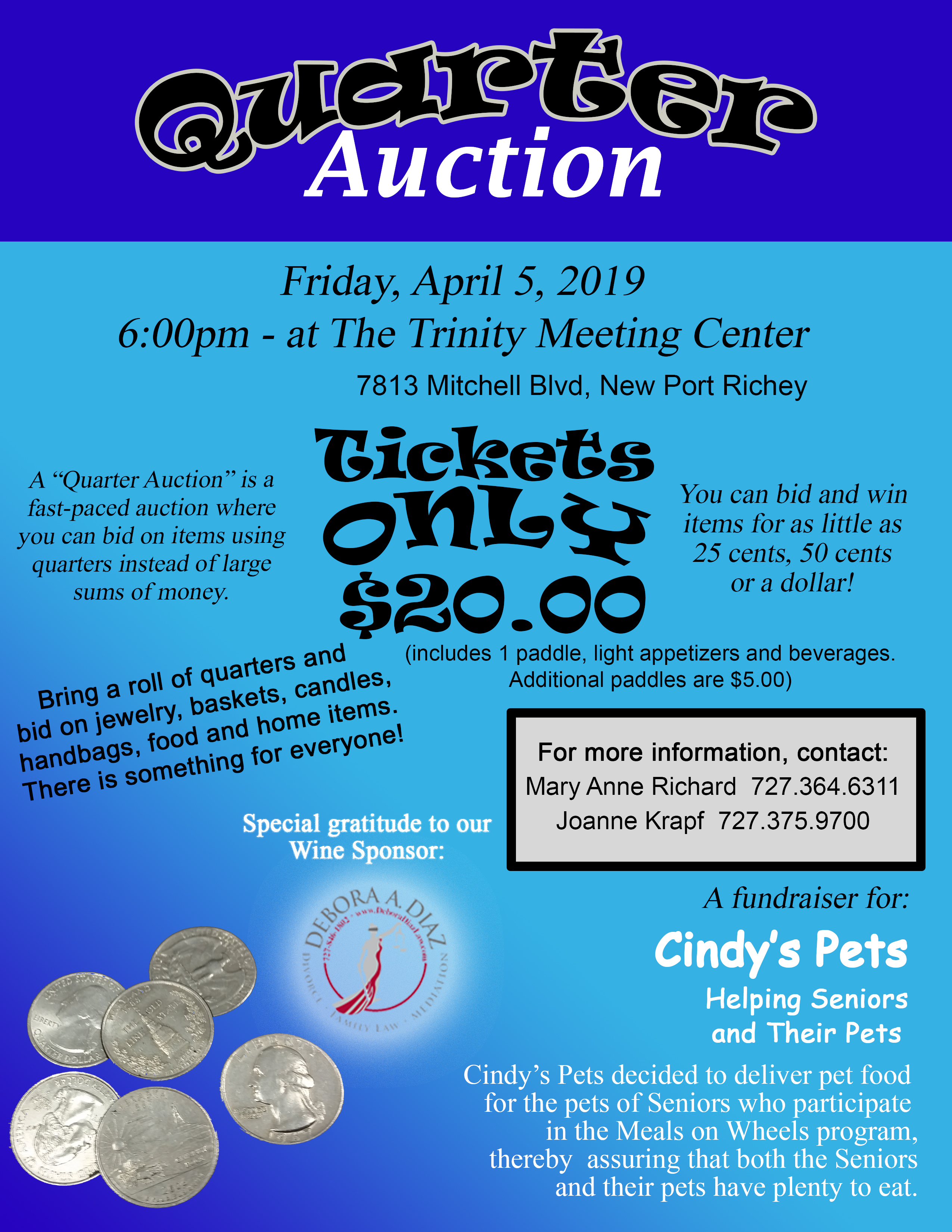 Quarter Auction Flier - Cindy's Pets