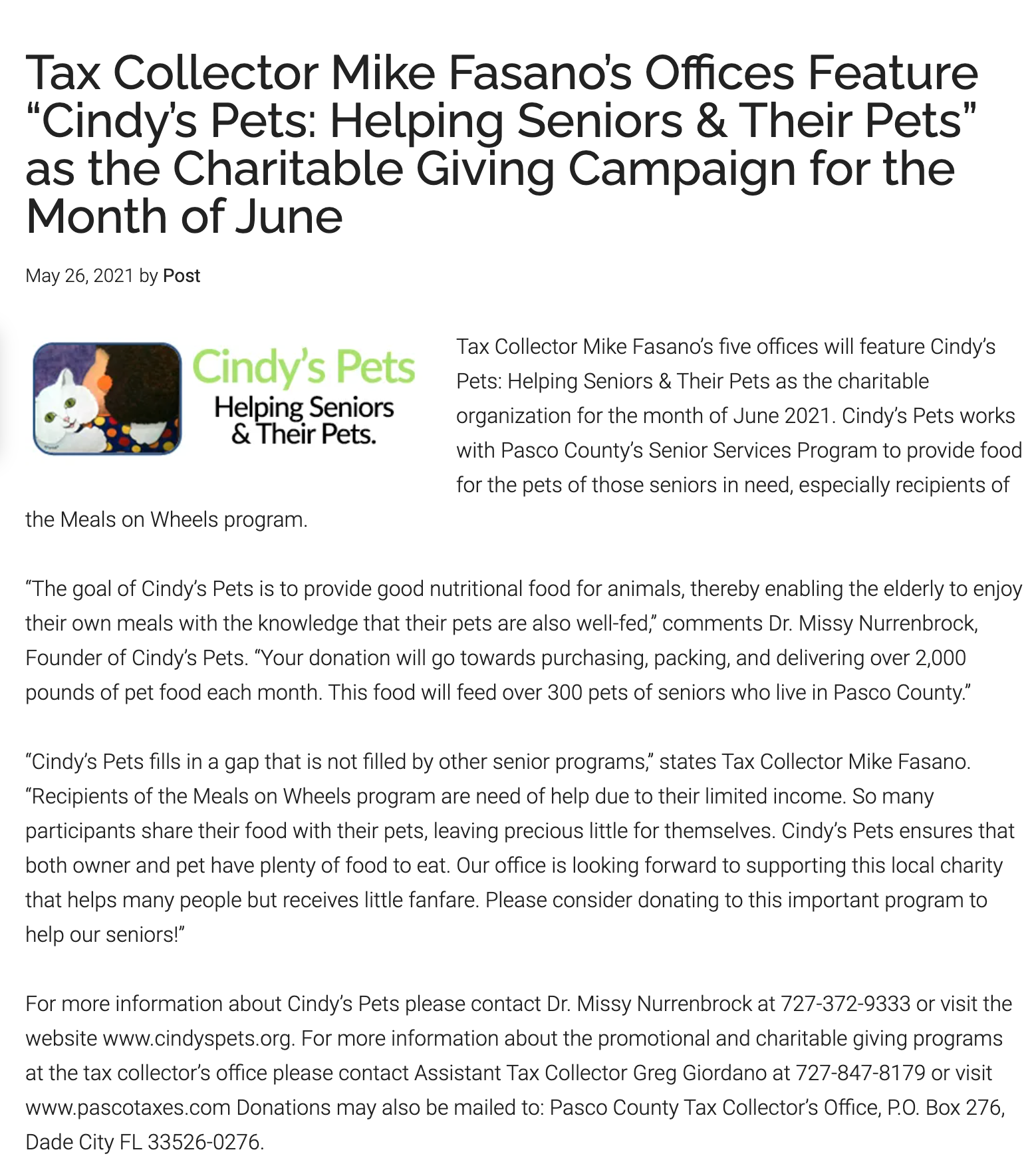 cindys pets tax article